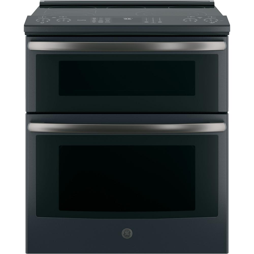 Profile 30 in. Slide-In Electric Double Oven Convection Range in Black