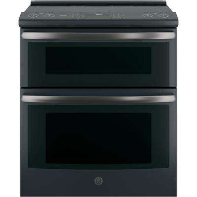 Profile 30 In Slide Electric Double Oven Convection Range Black Slate