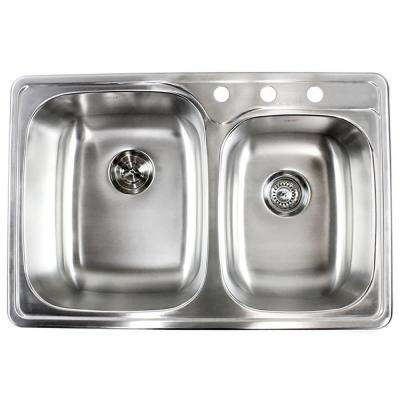 Topmount Drop-In 18-Gauge Stainless Steel 33 in. x 22 in. x 9 in. Deep 3-Faucet Holes Double Bowl 60/40 Kitchen Sink