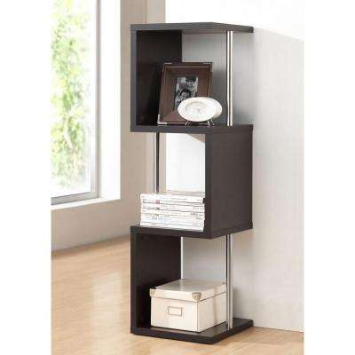 Lindy Modern 13.9 in. x 13.9 in. 3-Shelf Display in Dark Brown Wood Finish