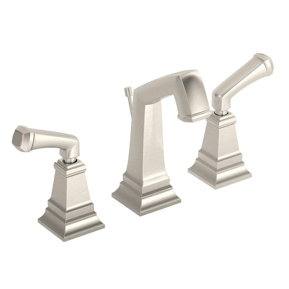 Symmons Identity 8 In. Widespread 2-Handle Bathroom Faucet With Pop-Up Drain Assembly In Satin