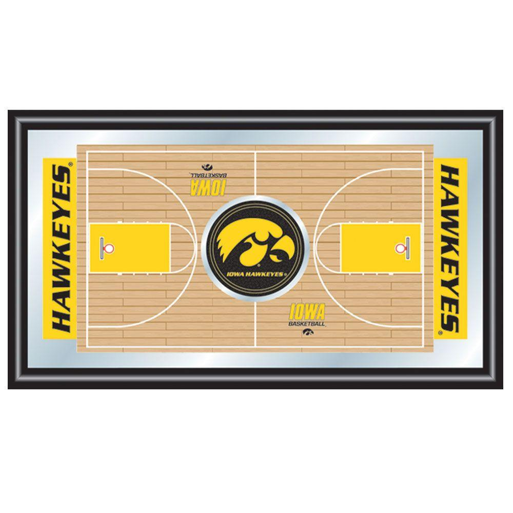 Trademark University of Iowa Basketball 15 in. x 26 in. Black Wood Framed Mirror