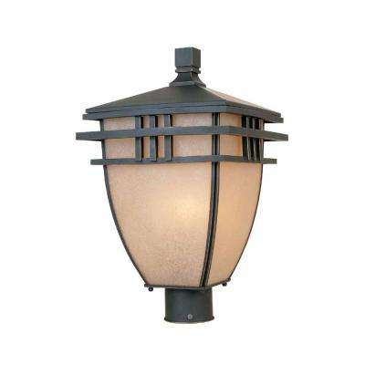 10.75 in. Aged Bronze Patina Outdoor Post Light with Ochere Glass