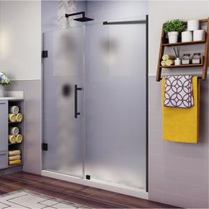 Belmore 75.25 in. to 76.25 in. x 72 in. Frameless Hinged Shower Door with Frosted Glass in Matte Black