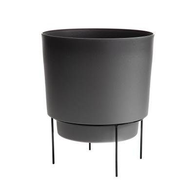 Hopson Medium 10 in. Charcoal Gray Plastic Planter with Metal Black Stand