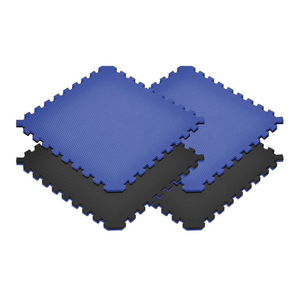 Norsk Black/Blue 24 in. x 24 in. x 0.79 in. Foam Interlocking Reversible Floor Mat (4-Pack)