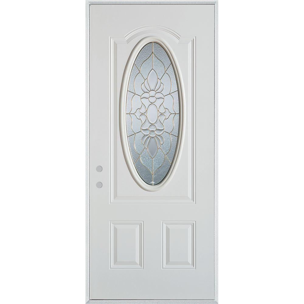 36 in. x 80 in. Traditional Patina 3/4 Oval Lite Prefinished