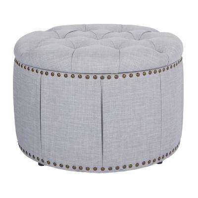 Elsie Skirted Milford Dove with Antique Bronze Nail-Heads Storage Ottoman Set