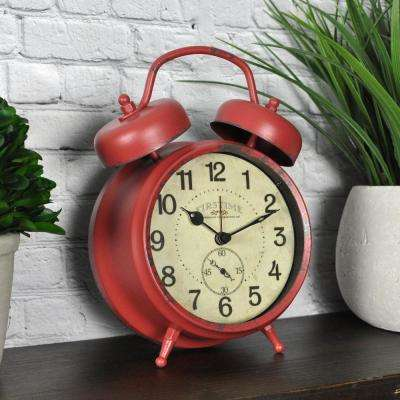 Red Double Bell Tabletop Clock