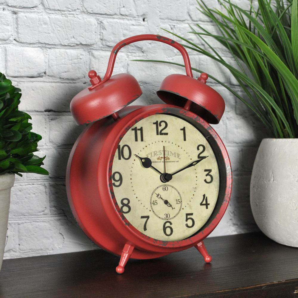 Charming FirsTime Red Double Bell Tabletop Clock