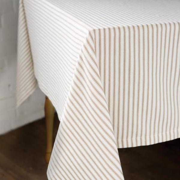 Ticking Square White Cotton Tablecloth