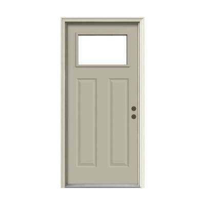 36 in. x 80 in. 1 Lite Craftsman Desert Sand Painted Steel Prehung Left-Hand Inswing Front Door w/Brickmould