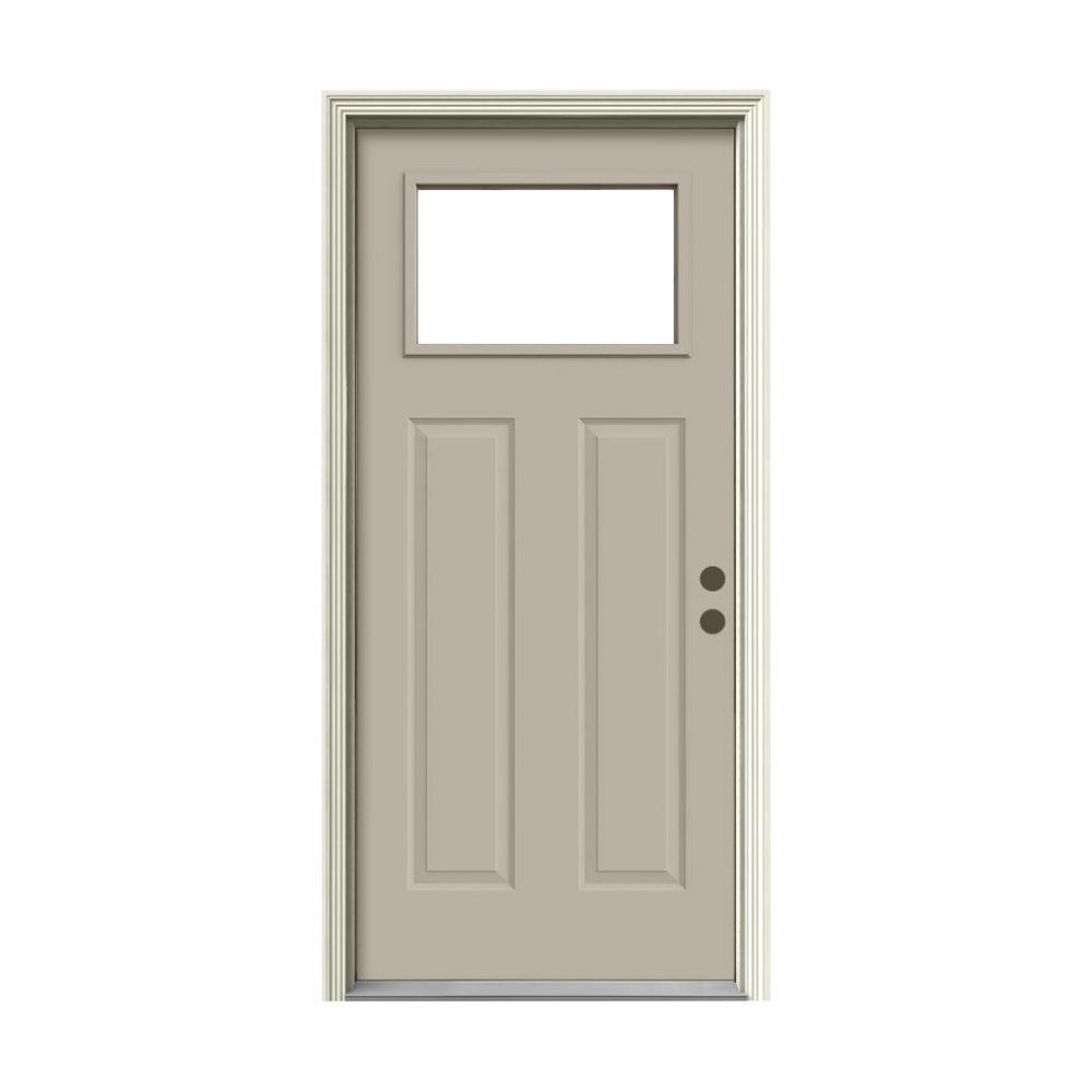 36 in. x 80 in. 1 Lite Craftsman Desert Sand Painted Steel Prehung Left-Hand Inswing Front Door w/Brickmould