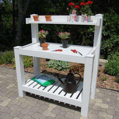 52 in. W x 26 in. D x 59 in. White Vinyl Hillcrest Potting Bench
