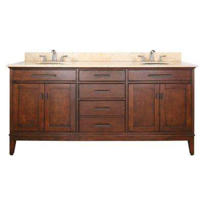 Madison 73 in. W x 22 in. D x 35 in. H Vanity in Tobacco with Marble Vanity Top in Galala Beige and Basin