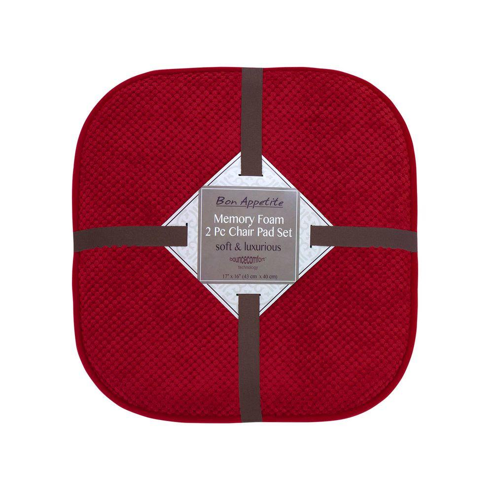 Bon Appetite 16 in. x 17 in. Red Memory Foam Cushioned