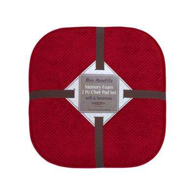 Bon Appetite 16 in. x 17 in. Red Memory Foam Cushioned Chair Pad (2-Pack)