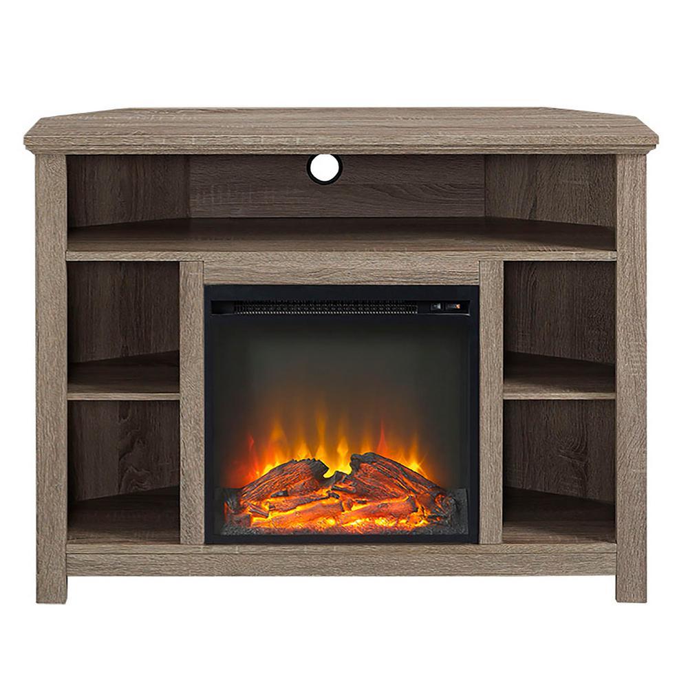 Walker Edison Furniture Company 44 Wood Corner Fireplace Tv Stand