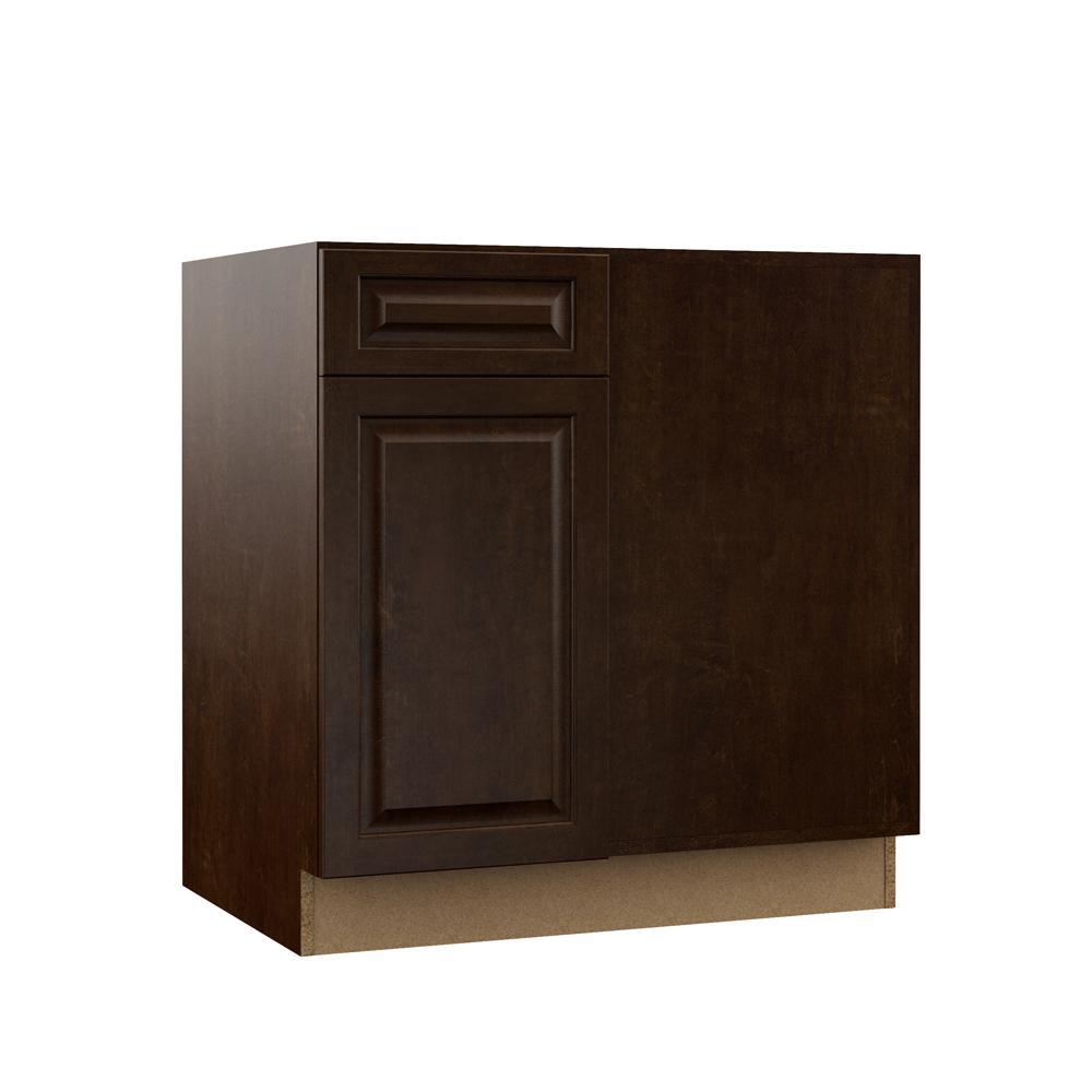 Awesome Hampton Bay Designer Series Gretna Assembled 42X34 5X23 In Blind Corner Base Kitchen Cabinet In Espresso Interior Design Ideas Apansoteloinfo