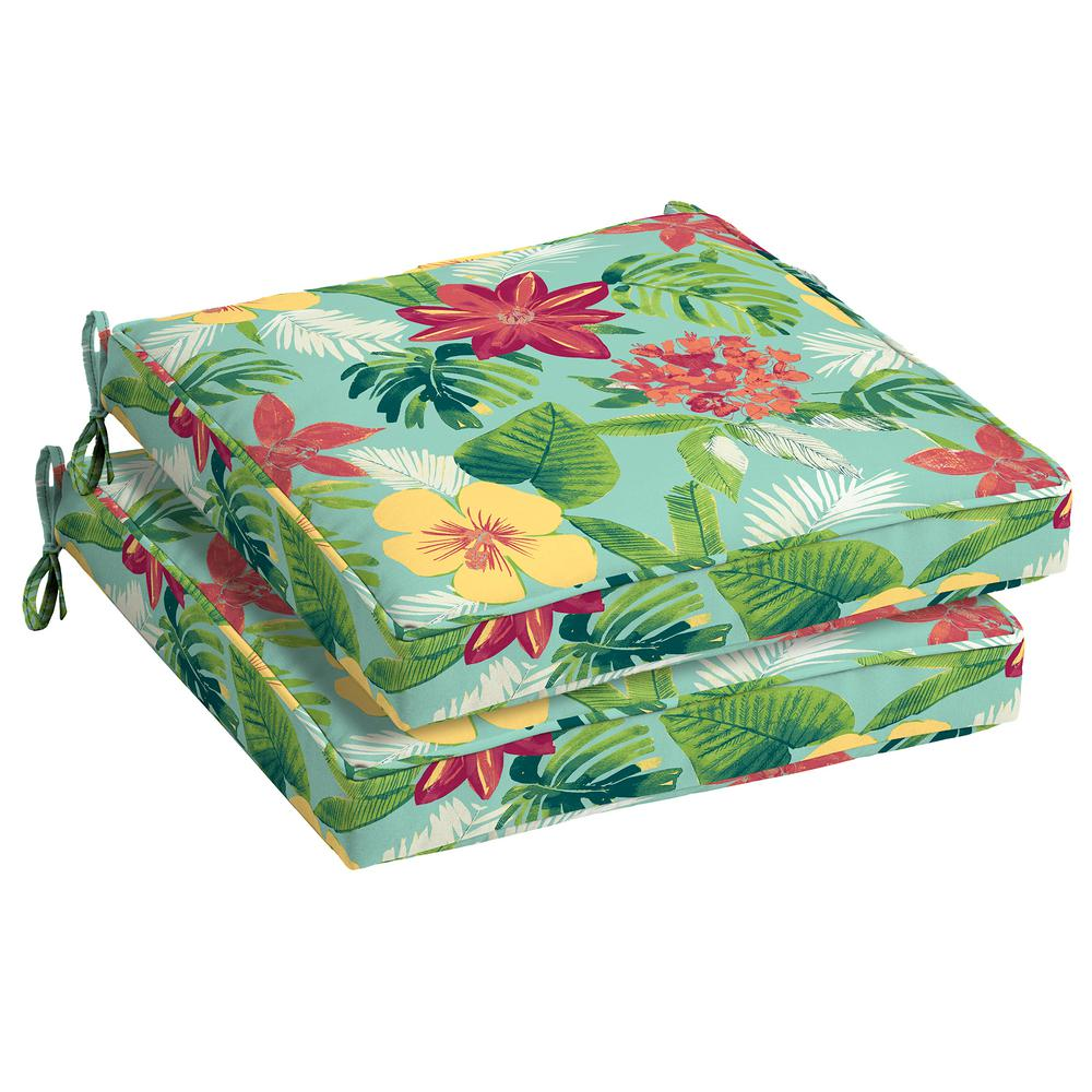 Elea Tropical Square Outdoor Seat Cushion (2-Pack)
