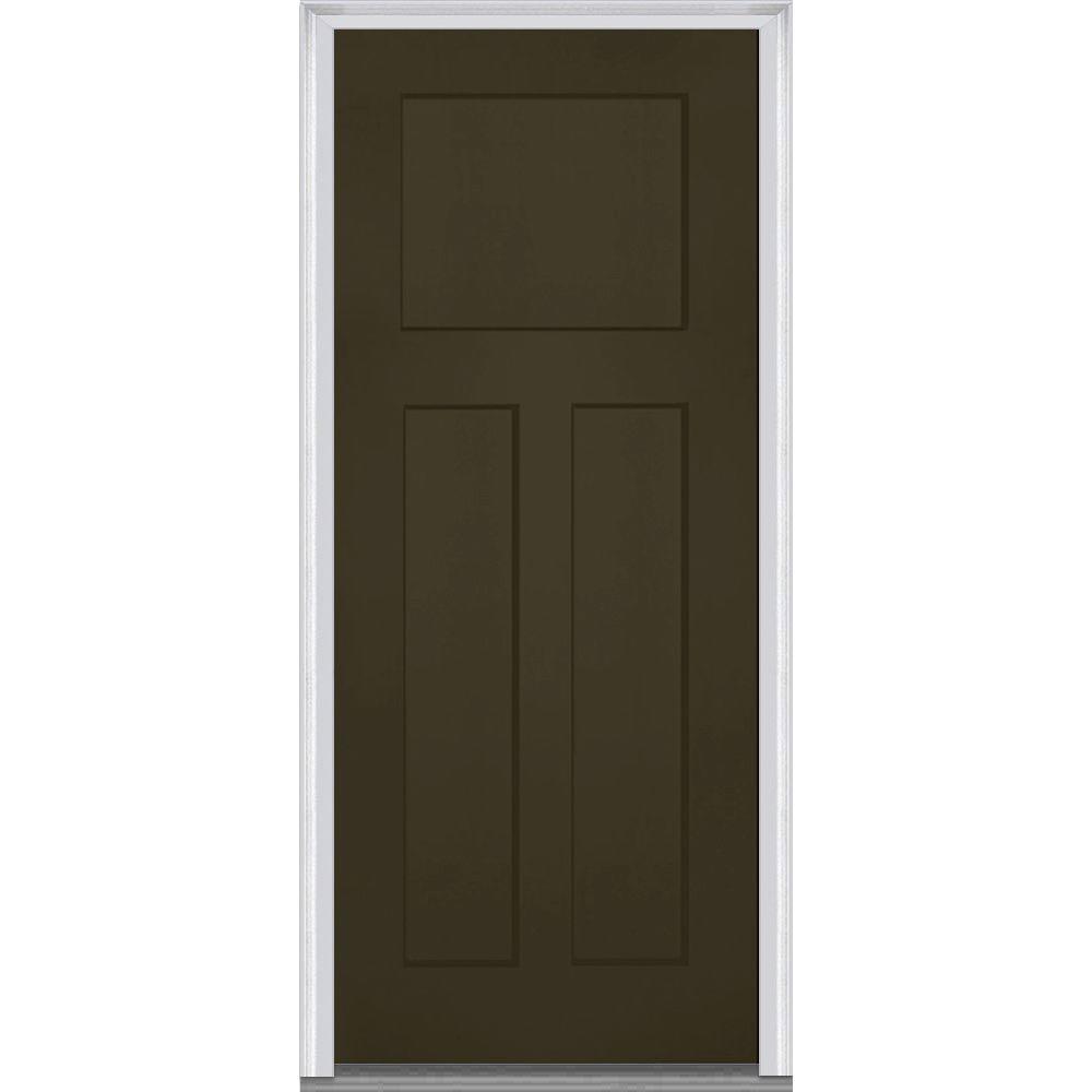 32 in. x 80 in. Left-Hand Inswing Craftsman 3-Panel Shaker  sc 1 st  The Home Depot & Yes - Left-Hand/Inswing - 4 u0026 Up - Bronze - Exterior Doors - Doors ...