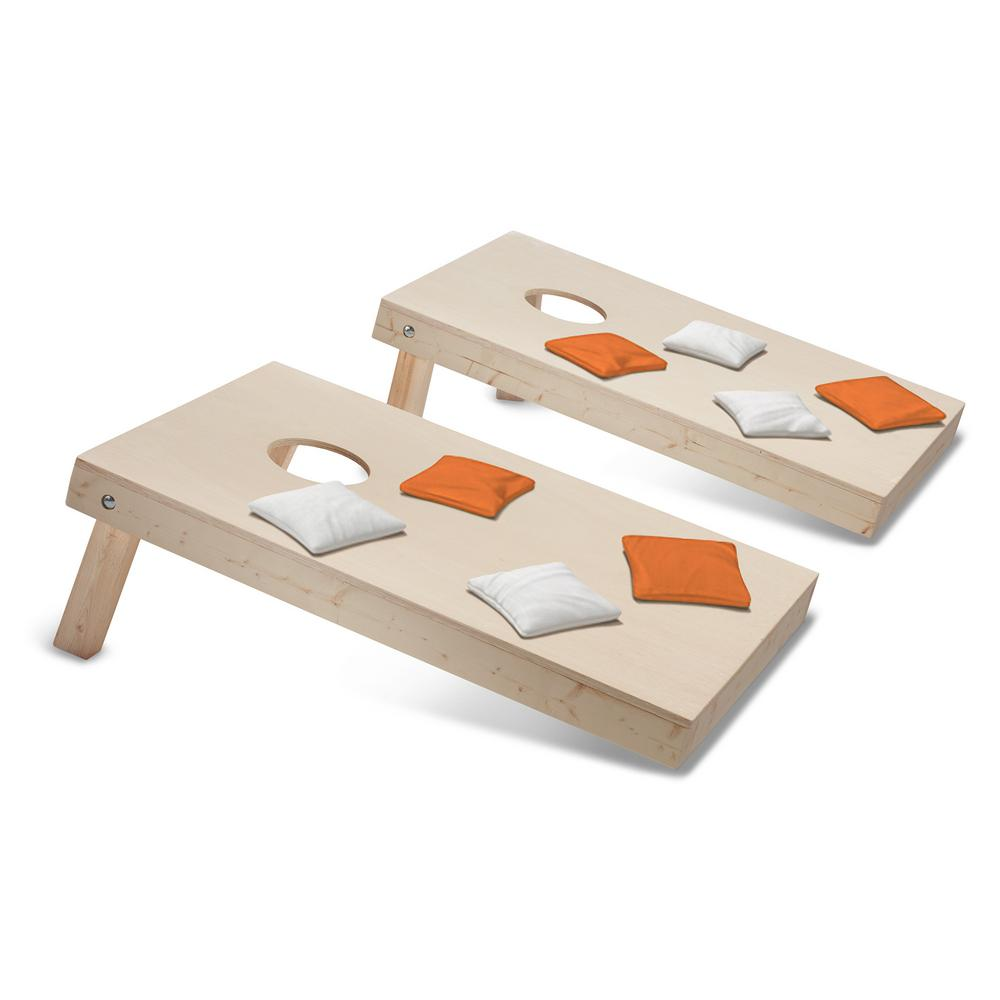Take-And-Play Cornhole Toss Game Set with Orange and White Bags