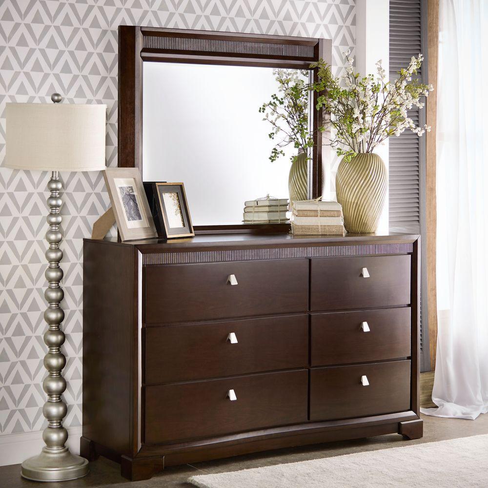 HomeSullivan Nichols 6-Drawer Brown Dresser with Mirror