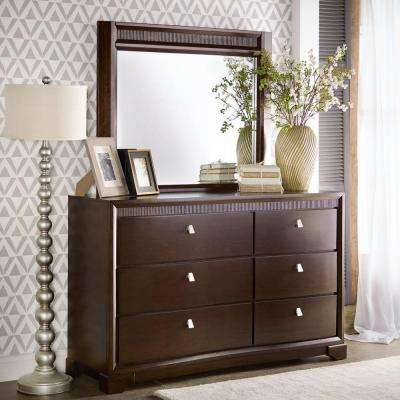Nichols 6-Drawer Brown Dresser with Mirror