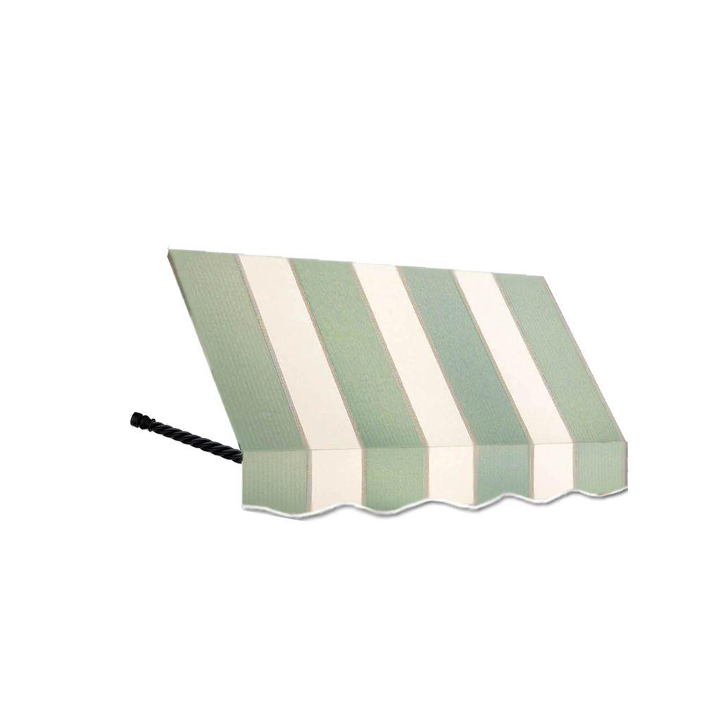 AWNTECH 18 ft. Santa Fe Window/Entry Awning Awning (44 in. H x 36 in. D) in Sage/Linen/Cream Stripe