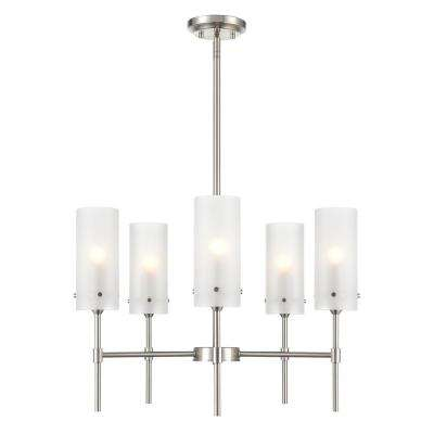 Montreal 5-Light Satin Nickel Chandelier with Frosted Glass Shades