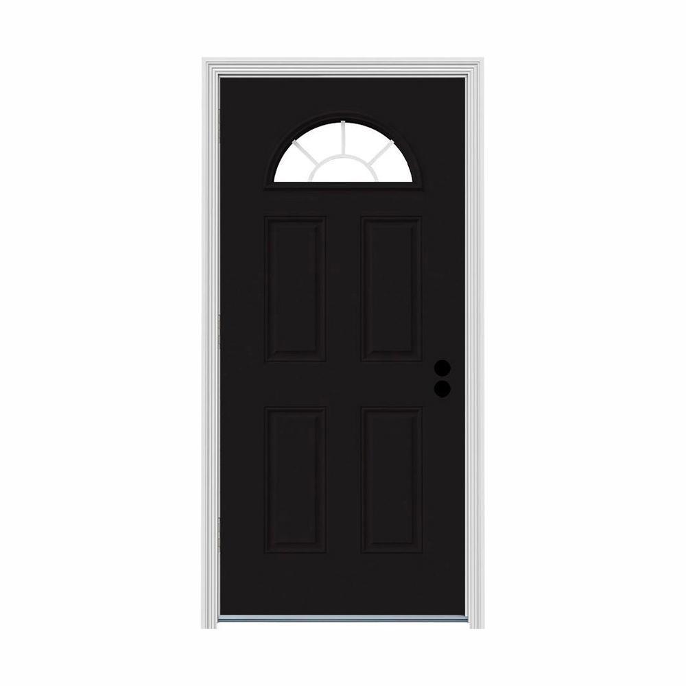 32 in. x 80 in. Fan Lite Black w/ White Interior Steel Prehung Right-Hand Outswing Front Door w/Brickmould