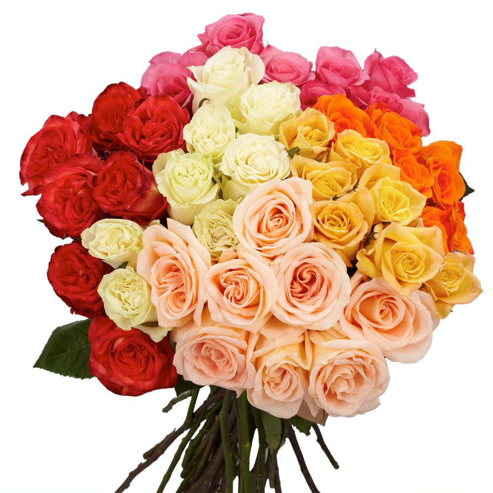 Flower bouquets garden plants flowers the home depot 50 stems of assorted colors roses izmirmasajfo