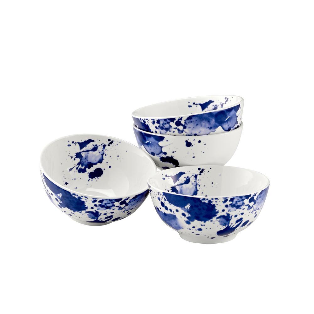 15 oz. Blue Porcelain Ink Spot Bowl (Set of 4)