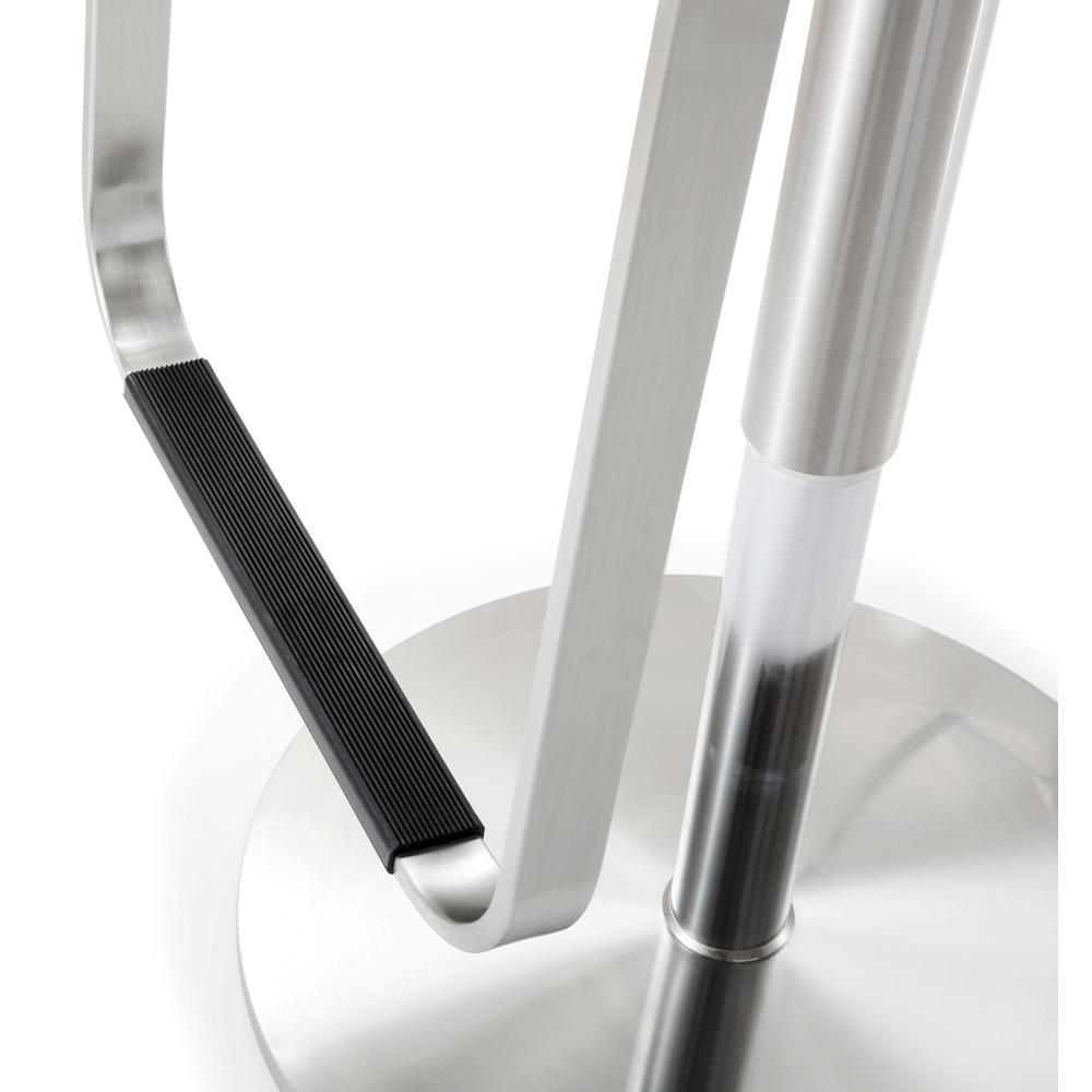 31.1 in. Napoli Light Grey Steel Adjustable Barstool