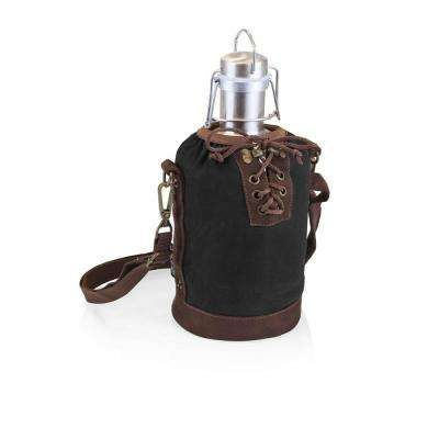 Black and Brown Insulated Growler Tote with 64 oz. Stainless Steel Growler