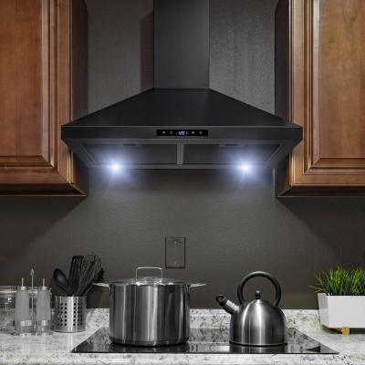30 in. Convertible Black Painted Stainless Steel Wall Mount Range Hood with LED Lights, Touch Control and Carbon Filters
