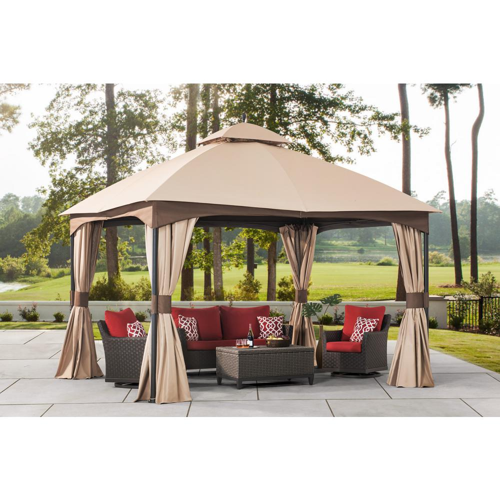 Hampton Bay Turnberry 10 ft  x 12 ft  Gazebo with Mosquito Netting and  Private Curtain