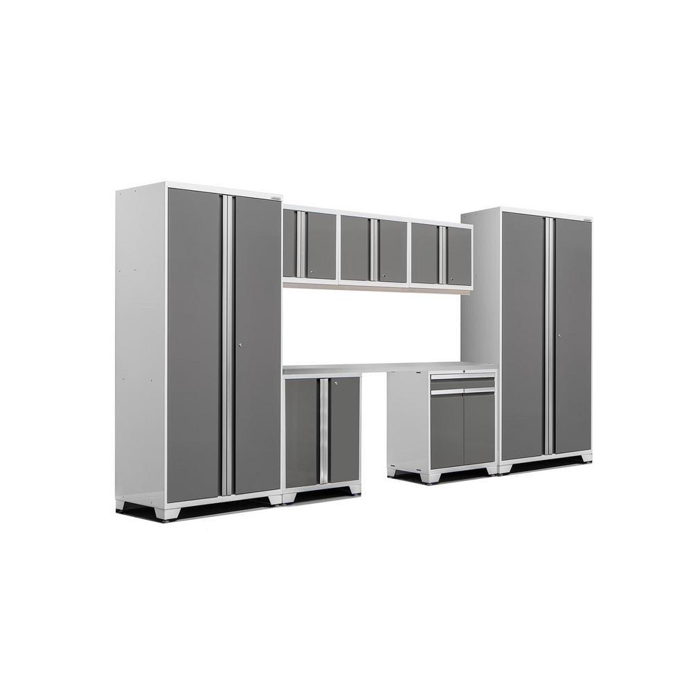 Pro 3.0 83.25 in. H x 156 in. W x 24 in. D 18-Gauge Steel Stainless Steel Worktop Cabinet Set in Platinum (8-Piece)
