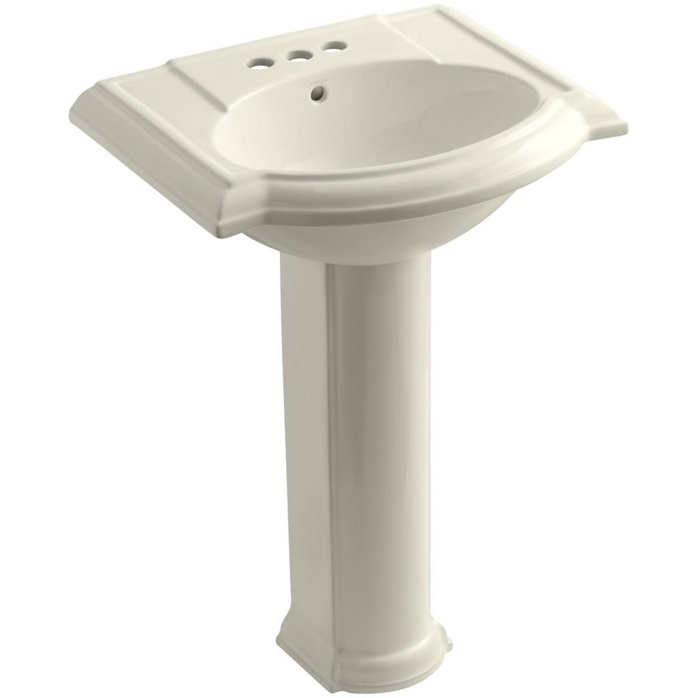 Kohler Devonshire Vitreous China Pedestal Combo Bathroom Sink in Almond (Brown) with Overflow Drain