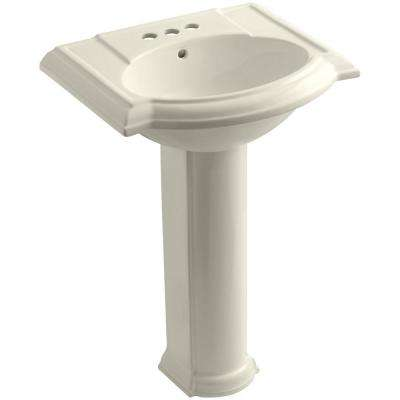 Devonshire Vitreous China Pedestal Combo Bathroom Sink in Almond with Overflow Drain