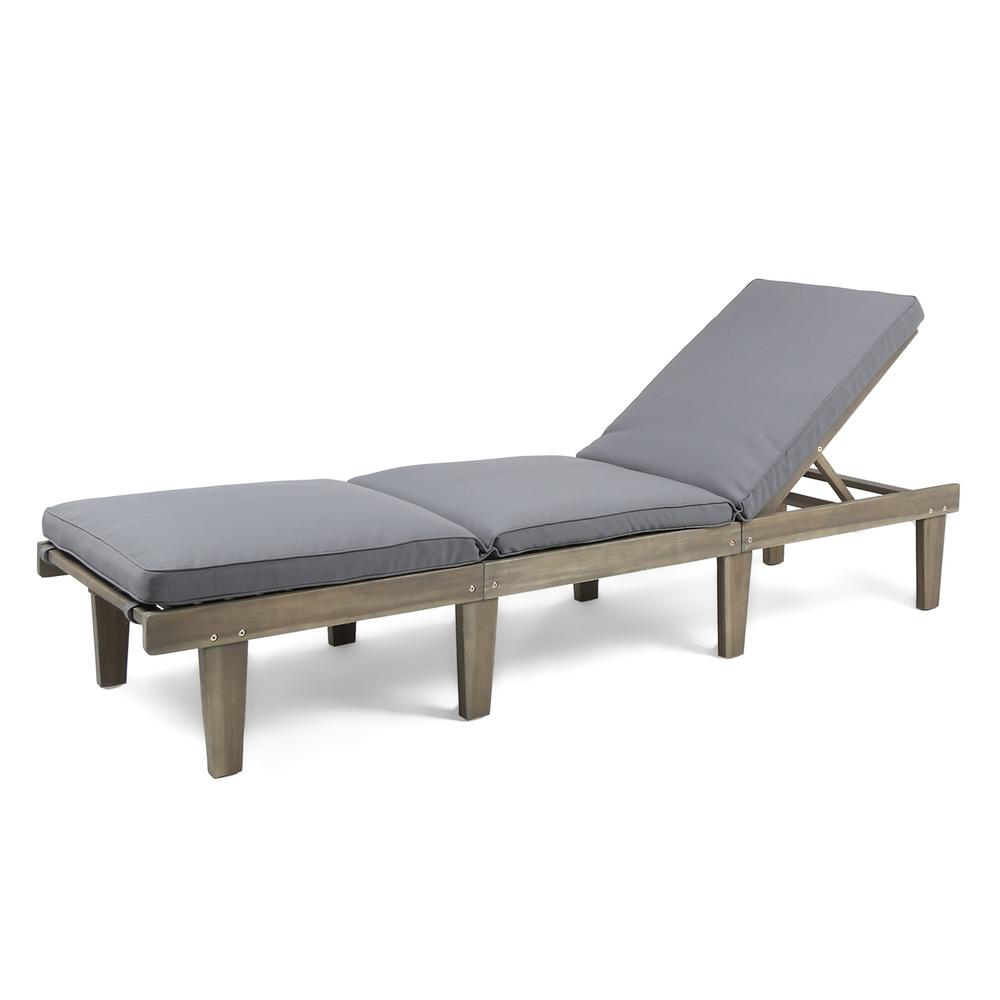 Noble House Gray Wood Outdoor Chaise Lounge with Dark Gray Cushion