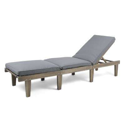Gray Wood Outdoor Chaise Lounge with Dark Gray Cushion