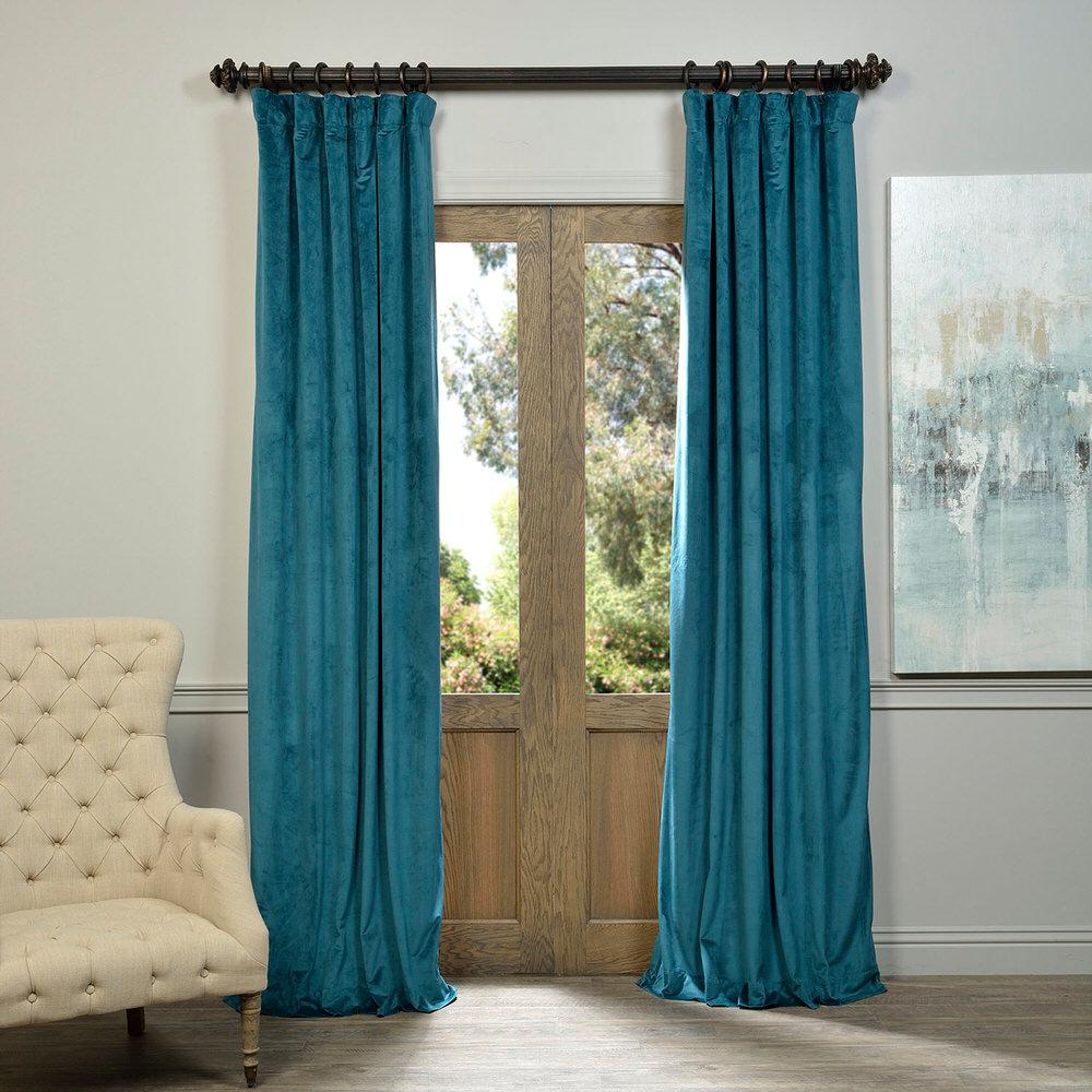 Exclusive fabrics furnishings blackout signature everglade teal blue blackout velvet curtain 50 in