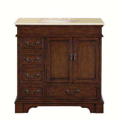 36 in. W x 22 in. D Vanity in English Chestnut with Marble Vanity Top in Crema Marfil with Ivory Basin