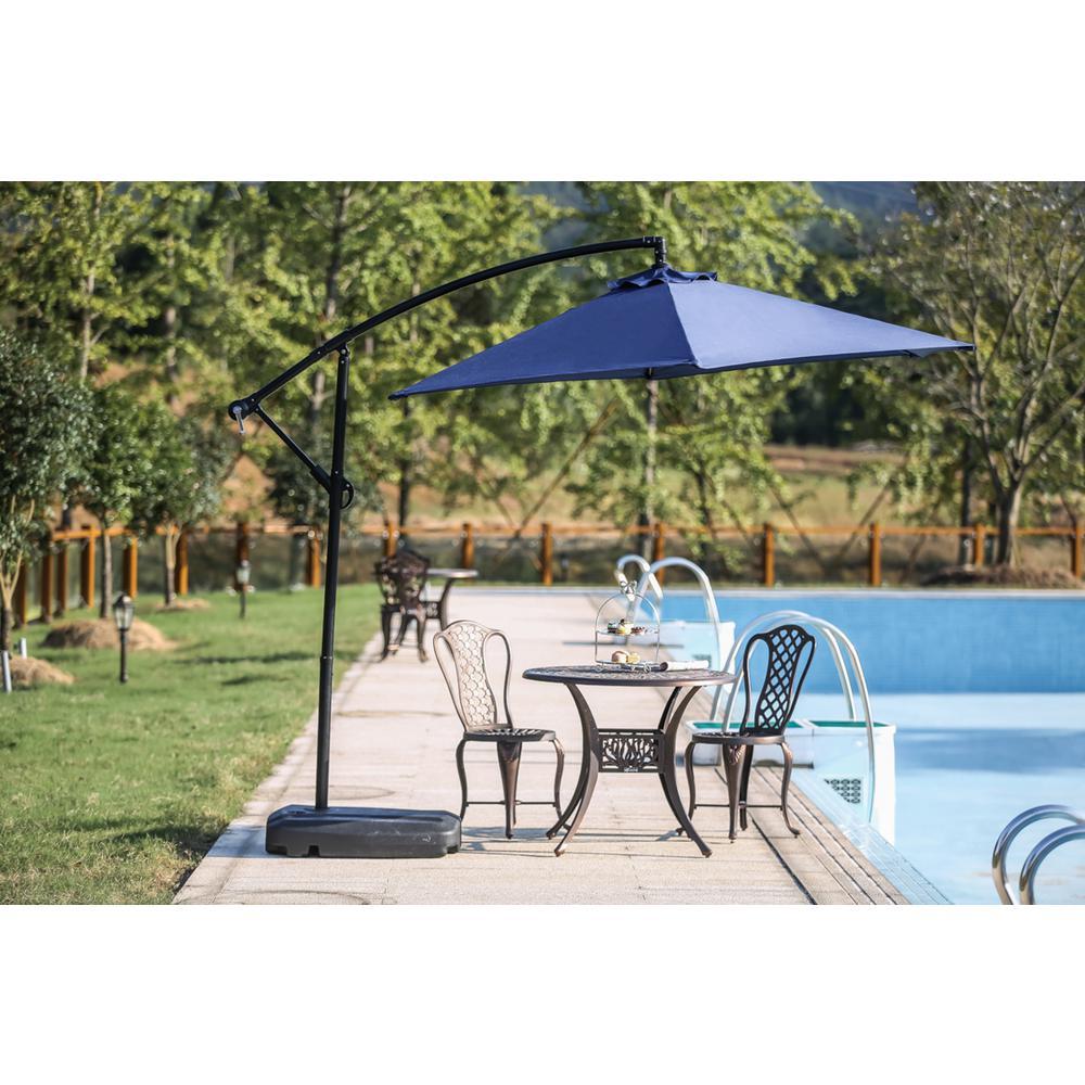 9 ft. Steel Cantilever Patio Umbrella in Blue