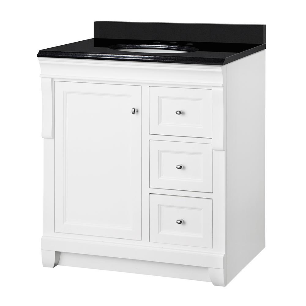 Naples 31 in. W x 22 in. D Vanity in White with Granite Vanity Top in Black with White Basin