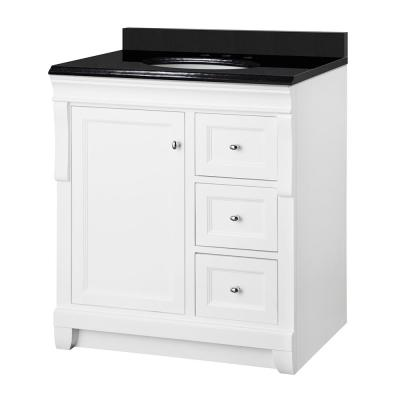 Naples 31 in. W x 22 in. D Bath Vanity in White with Granite Vanity Top in Midnight Black with Oval White Basin