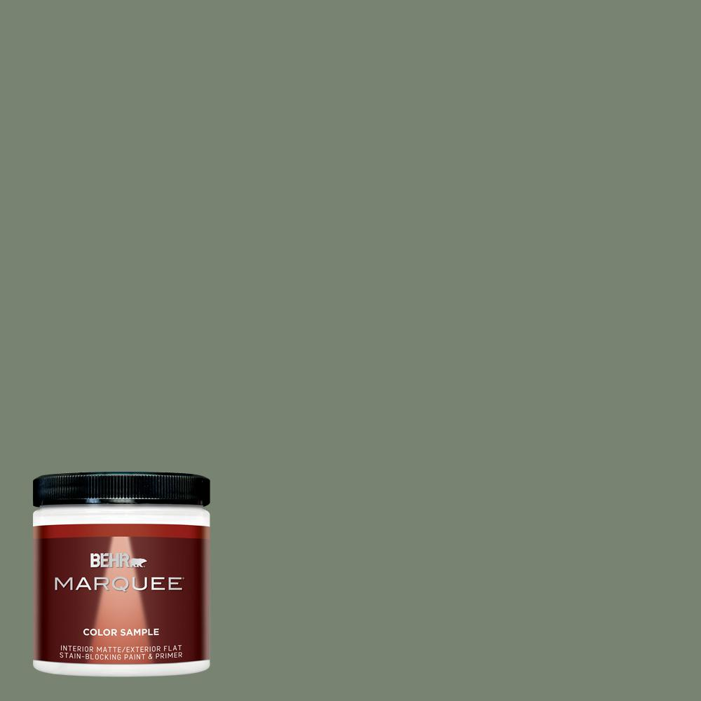 Behr Marquee 8 Oz Icc 77 Sage Green Matte Interior Exterior Paint And Primer In One Sample