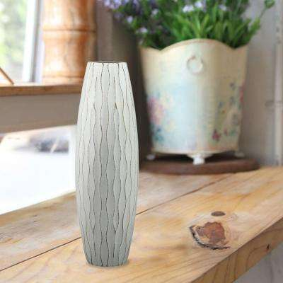 10 in. Wood Decorative Vase in Weathered Pale Ocean