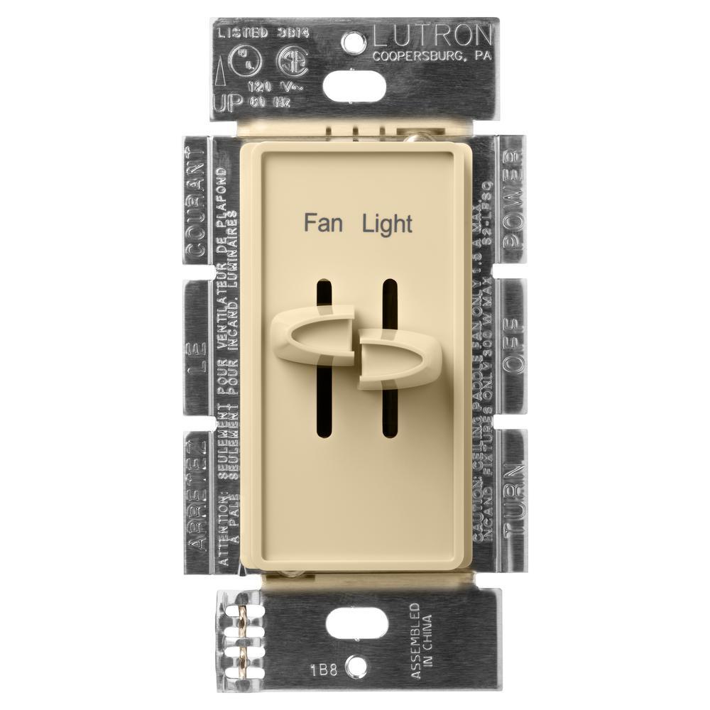 Lutron Skylark 1 5 Amp Single Pole 3 Sd Combination Fan And Light Control Ivory